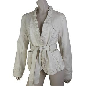 Solitaire Vegan leather Belted Jacket Off White M